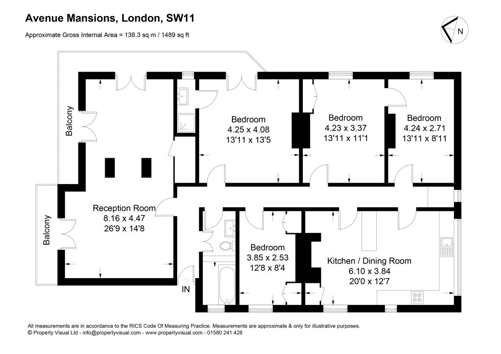 Floor plan – 7 Avenue Mansions, SW11-01